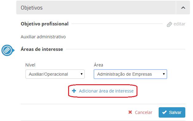 área de interesse vagas.com