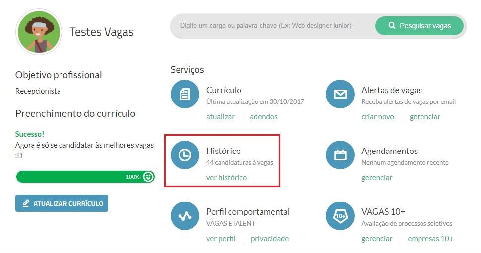 histórico de candidaturas VAGAS.com.br