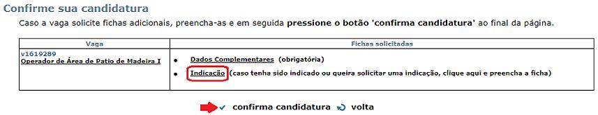 ficha de indicação vagas.com.br