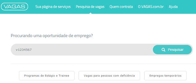 pesquisar código da vaga vagas.com.br