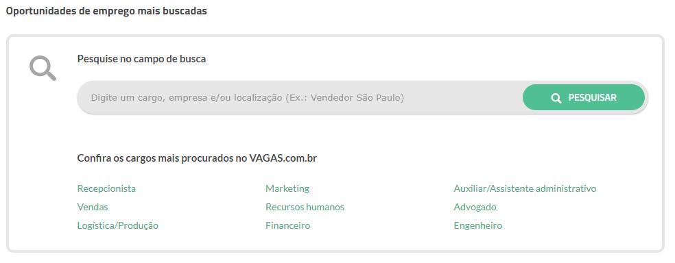 oportunidades de emprego mais buscadas vagas.com.br