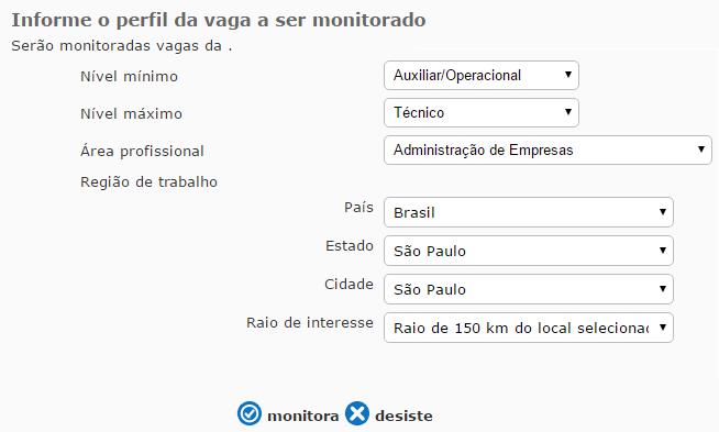 criar perfil alerta de vagas vagas.com.br