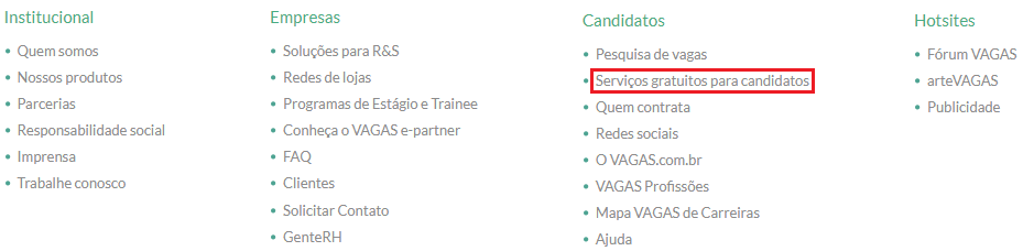serviços gratuitos para candidatos vagas.com.br