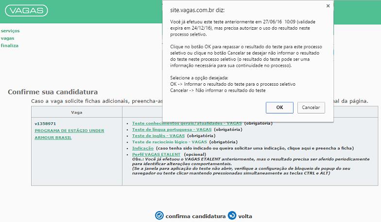 liberação teste VAGAS.com.br
