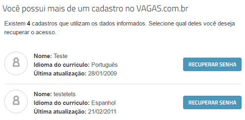 mais de um cadastro vagas.com.br