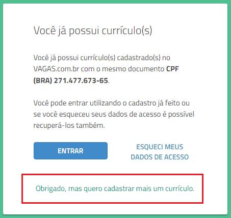 quero cadastrar mais um currículo VAGAS.com.br