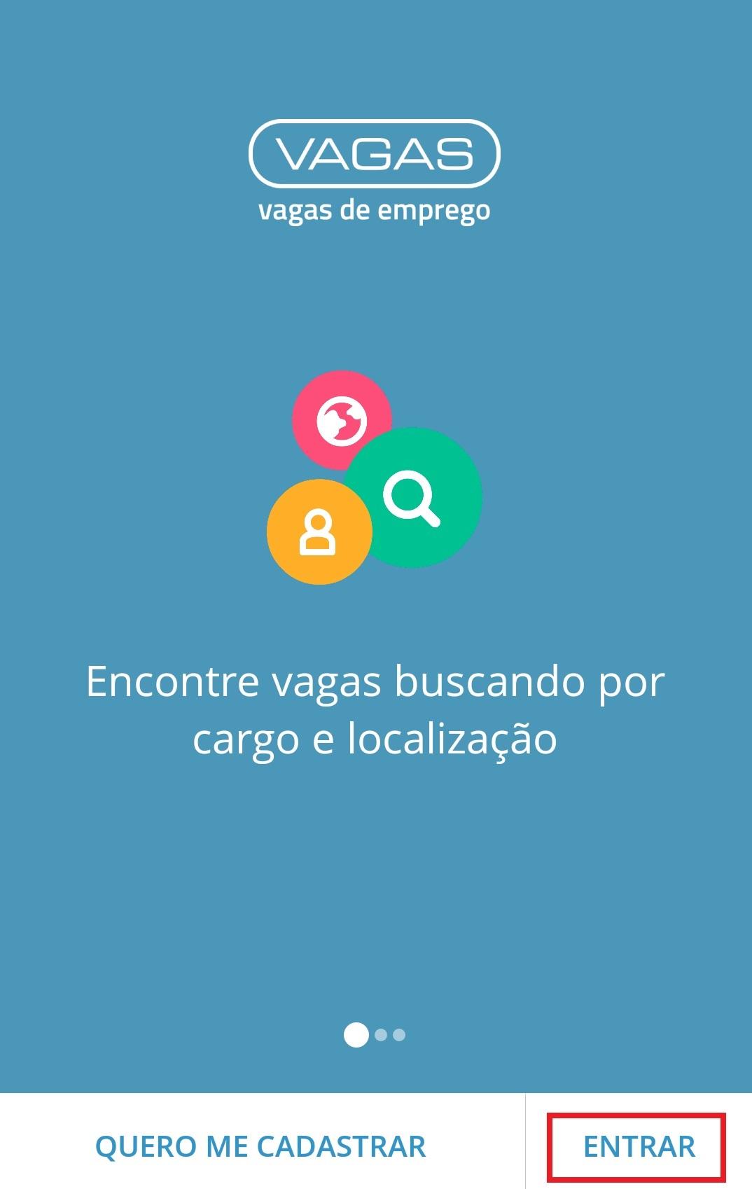 Tela de abertura do app VAGAS