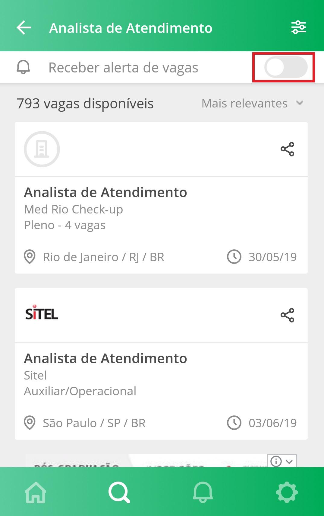 Receber alerta de vagas - App VAGAS