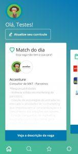 Página inicial com match