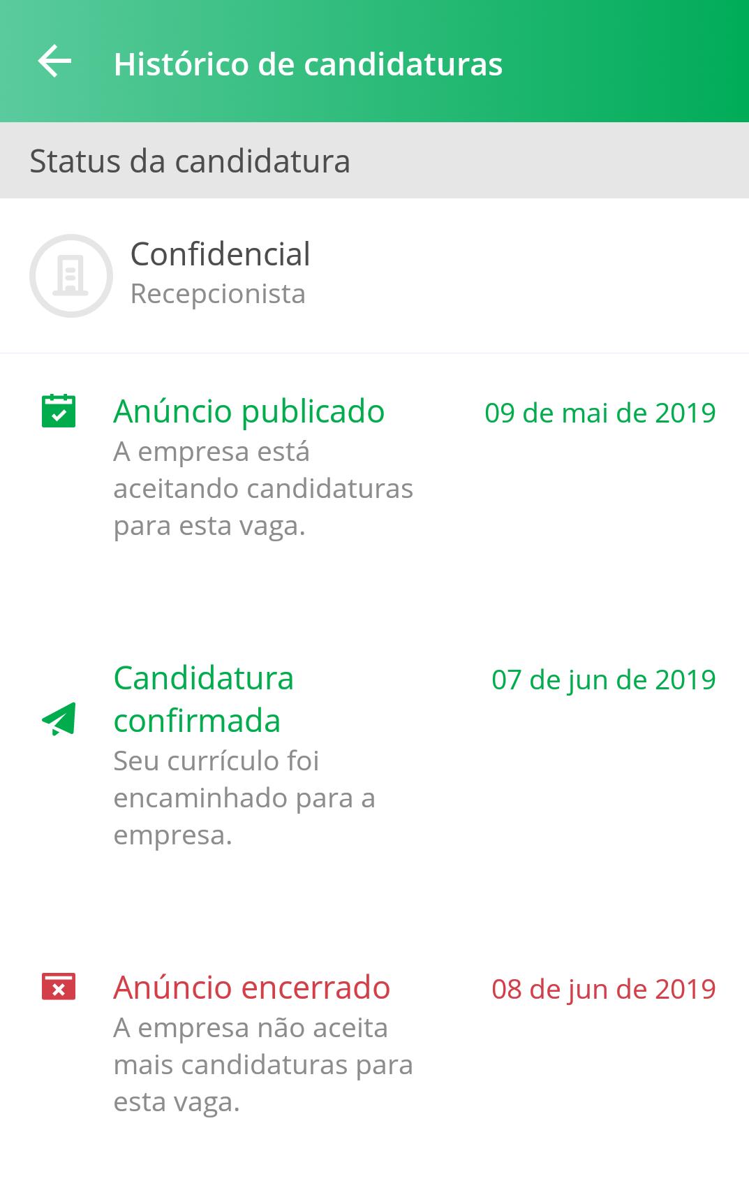 Histórico de vaga específica app VAGAS