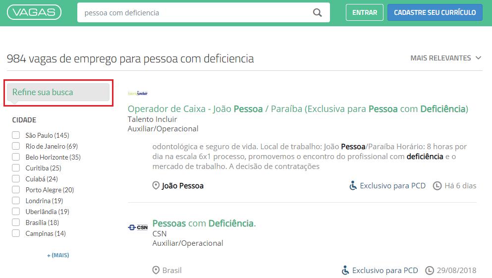 Refine sua busca PCD - VAGAS.com.br